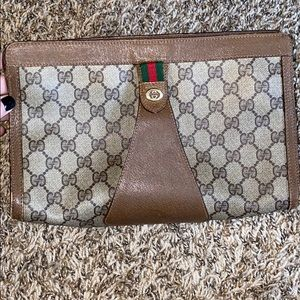 Vintage GG monogram brown leather coated clutch